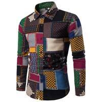 Mens Stylish Casual Long Sleeve Shirt Business Slim Fit Shirt Print Blouse Top
