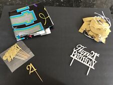 Lot of 21st Birthday Decorations Party Supplies Banner Sliver Cake Topper