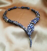 SENSATIONAL $795 ALEXIS BITTAR PAVE CRYSTAL SNAKE NECKLACE, NWOT