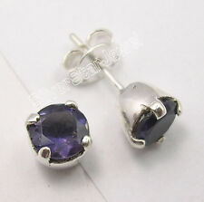 .925 Sterling Silver Original IOLITE Studs Posts Earrings 0.7 CM BOYS' JEWELRY