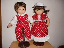 BITTY BABY TWINS RED/WHTE STARS MATCHING DRESS AND PANTS SET