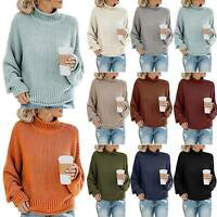 Womens High Neck Sweater Knitted Pullover Jumper Tops Comfy Casual Plain Blouse