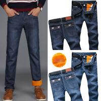 Men Winter Thermal Jeans Fleeced Lined Denim Long Pants Casual Warm Trousers
