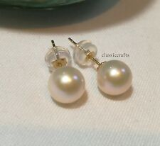 Genuine 7-8mm 4A circle freshwater pearl in 18K yellow gold stud earrings White