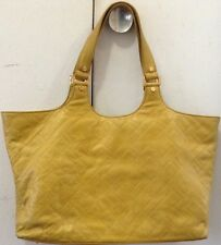 Tory Burch Leather Stitch T Burch Tote Bag Yellow Handbag Pre Owned Rare HTF