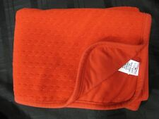 TOMMY HILFIGER BABY BLANKET RED CABLE KNIT COTTON POLYESTER FLAG LOGO