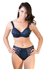 Midnight Blue Semi Sheer Underwired Bra, Thong and/or Briefs Pretty floral lace