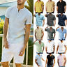 Summer Mens Cotton Linen T Shirt Top Casual Loose V Neck Short Sleeve Tee Blouse
