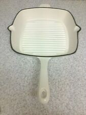 CAST IRON CREAM ENAMEL SQUARE FRYING PAN WITH 2 POURING LIPS
