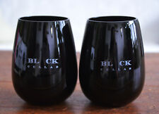 "Lot 2 BLACK CELLAR Dark Purple Glass  4"" Opaque Stemless Wine Goblet Cup Tumbler"