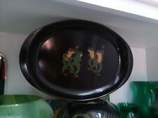 COUROC of MONTEREY Vintage Dancing Frogs Oval Serving Tray Made in USA