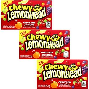 3 x Chewy Lemonhead Fruit Mix American Hard Candy Sweets Candy Fruit Sweets 23g