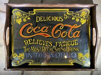 RARE Cool Vintage Coca Cola Tray Mirror with Wood Frame Good Condition