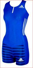 new ADIDAS LEOTARD women one-piece gymnastics dance shorts blue M MSRP $150