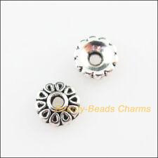 100Pcs Tibetan Silver Tone Flower End Bead Caps Connectors 6mm
