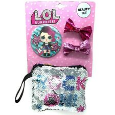 Lol Surprise Accessories Set With Purse/Pouch Hair Clips & Mirror Glitter Sequin