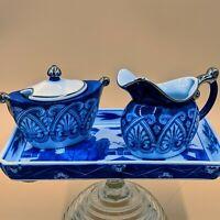 Bombay Blue White Creamer Sugar bowl Set Ceramic with Tray chinoiserie Arabesque