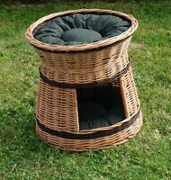 Wicker willow round 2 tier bunk baskets bed for pet cat kitten dog with Cushions