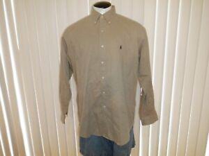 Men's RALPH LAUREN BLAKE Sz L Tan Long Sleeved Button Front Dress Shirt PONY!