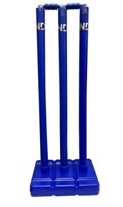 ND Sports Plastic Stumps & Base Cricket Detachable-Base BLUE