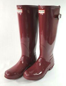 Hunter Original Tall Wellington Gloss Boots Red/Maroon Women Size 9 EUC