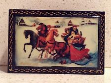 Russian Troika Three Horses Pulling a Sleigh Ride Snow Jewelry Box Deco Winter