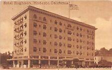 MODESTO CA 1907-14 Long Gone Hotel Hughson with Old Cars of the era VINTAGE GEM+