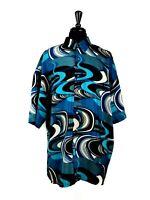 MONZINI Collection Men's 3XL Blue Black White Swirl Short Sleeve Button Up Shirt