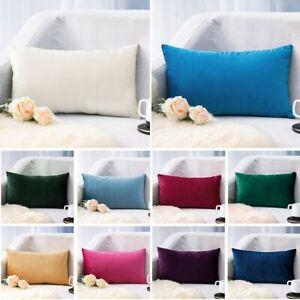 Velvet Fabric Pillow Cover 12x20 Inch Soft Throw Pillowcase Cushion Thicken