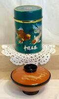 2 VTG Decorative Tea Caddy Metal Tin Lacquer-Ware Soup Bowl Orander Koi Fish Lot