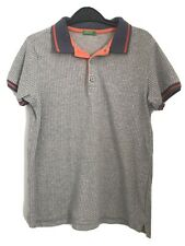 Boys Polo Top Age 10-11 Years - United Colours of Benetton - Grey orange white