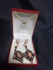 Trysordy of Wales Silver & Multi Stone Diamond Shaped Pierced Earrings Boxed
