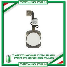 """TASTO CENTRALE HOME BUTTON COMPLETO FLEX PER IPHONE 6 PLUS 5,5"""" BIANCO"""