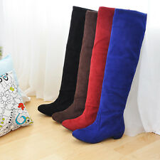 Women's Fashion Shoes Faux Suede Low Heels Knee High Pull On Boots UK Size b252