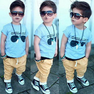 2PCS Toddler Baby Boys Summer T-Shirt Tops + Pants Set Kids Clothes Outfits 1-5Y