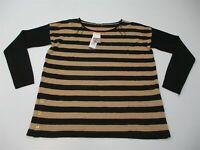 new DANA BUCHMAN Women's Size M Knit Black/Gold Stripe Button Detail Sweater