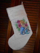 Hibiscus Mermaid, Beach Handmade Embroidered Christmas Stocking * Free Ship
