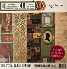 ~FLEA MARKET~12X12 SCRAPBOOK CARDSTOCK 48 SHEETS BY RECOLLECTIONS ~FOIL~