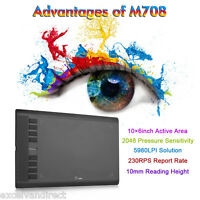 "UGEE M708 Pro Grafik-Tablet Grafiker Grafiktablett 10 ""x6"" Touchpad für Fenster"