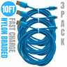3Pack 10Ft Lightning Cable Heavy Duty iPhone Xs X 8 USB Charger Charging Cord
