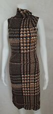 Gianni Versace Couture Black Brown White Dot Print Vintage Dress 42