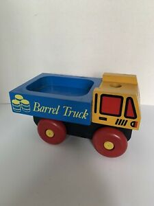 Vintage The Montgomery Schoolhouse Wood Toy BARREL TRUCK Truck Only