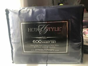 Hotel Style Full 600 Thread Count Sheet Set-Navy Blue
