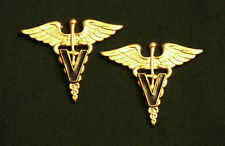 US ARMY VETERINARY CORPS OFFICER COLLAR BRANCH INSIGNIA; PAIR