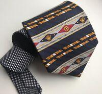 Gianni Versace Silk Tie Medusa Vintage Rare Barocco Aztec Stripe NWOT Polka AUTH