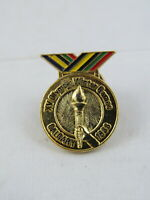 1988 Winter Olympic Games Pin - Gold Medal Design with Olympic Torch - Rare