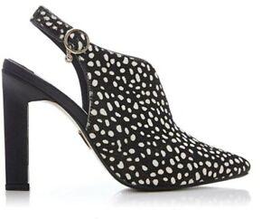 Moda In Pelle Cari Black White Leather Slingback Pointed Toe Heels UK 3