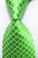 New Classic Checks Light Green White JACQUARD WOVEN 100% Silk Men's Tie Necktie