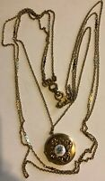 "Vintage 19"" Gold Tone Multi Strand Necklace w Center Locket."