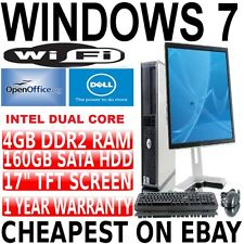 COMPLETO dell Core 2 Duo per PC desktop TOWER PC & TFT computer con Windows 7 & WIFI & 4GB